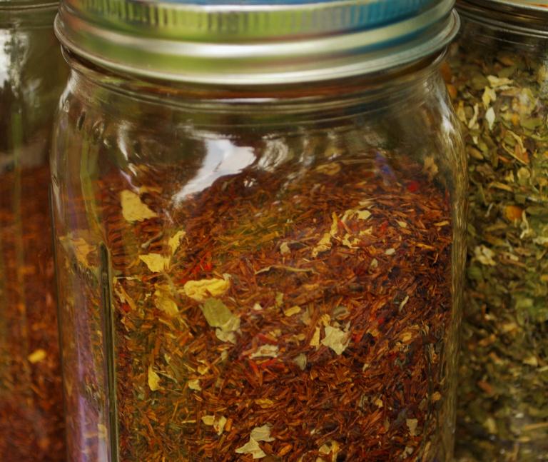 Loose leaf tea on display at the Irvington (IN) Farmer's Market.